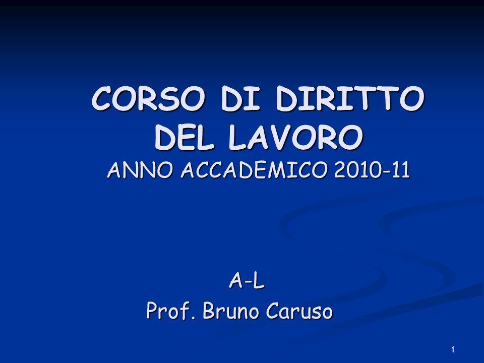 1 CORSO DI DIRITTO DEL LAVORO ANNO ACCADEMICO 2010-11 CORSO DI DIRITTO DEL LAVORO ANNO ACCADEMICO 2010-11 A-L A-L Prof.