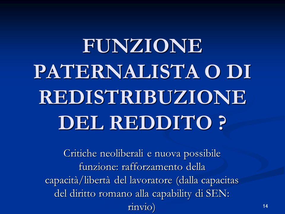 FUNZIONE PATERNALISTA O DI REDISTRIBUZIONE DEL REDDITO .