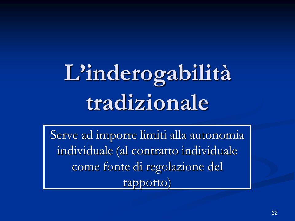Serve ad imporre limiti alla autonomia individuale (al contratto individuale come fonte di regolazione del rapporto) Linderogabilità tradizionale 22