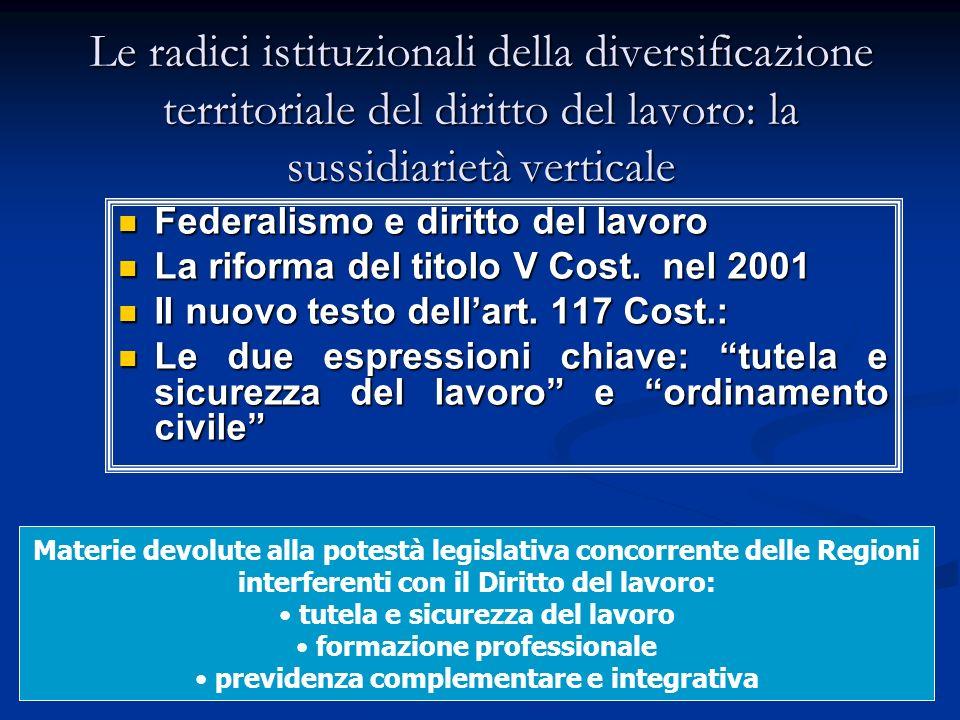 29 Le radici istituzionali della diversificazione territoriale del diritto del lavoro: la sussidiarietà verticale Federalismo e diritto del lavoro Federalismo e diritto del lavoro La riforma del titolo V Cost.