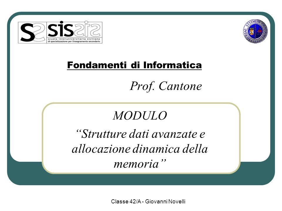 Modulo 2 – IV Anno MODULO 2: Strutture dati avanzate e allocazione dinamica della memoria UD3: Le liste( 4 sett.) UD4: Pile e code( 2 sett.) UD5: Alberi e Grafi ( 1 sett.) tot.