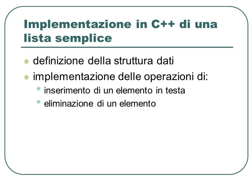 Implementazione in C++ di una lista semplice definizione della struttura dati implementazione delle operazioni di: inserimento di un elemento in testa eliminazione di un elemento