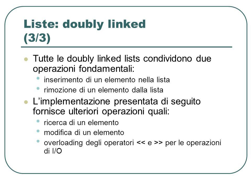 Liste: doubly linked (3/3) Tutte le doubly linked lists condividono due operazioni fondamentali: inserimento di un elemento nella lista rimozione di un elemento dalla lista Limplementazione presentata di seguito fornisce ulteriori operazioni quali: ricerca di un elemento modifica di un elemento overloading degli operatori > per le operazioni di I/O