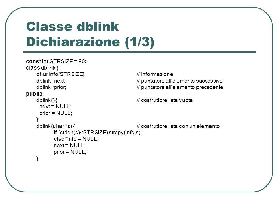 Classe dblink Dichiarazione (1/3) const int STRSIZE = 80; class dblink { char info[STRSIZE];// informazione dblink *next;// puntatore allelemento successivo dblink *prior;// puntatore allelemento precedente public: dblink() {// costruttore lista vuota next = NULL; prior = NULL; }; dblink(char *s) {// costruttore lista con un elemento if (strlen(s)<STRSIZE) strcpy(info,s); else *info = NULL; next = NULL; prior = NULL; }