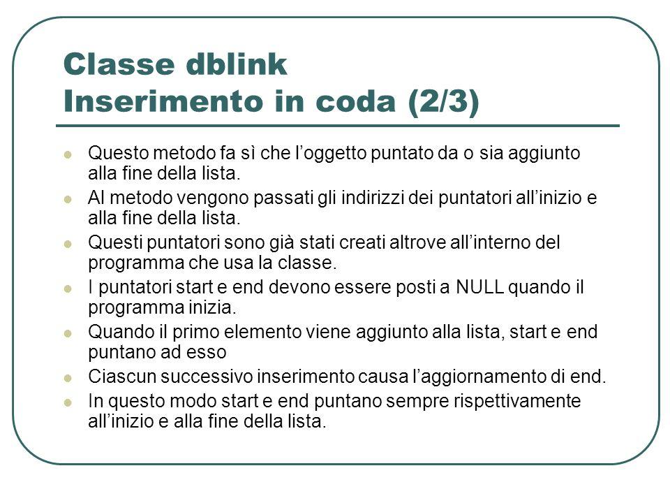 Classe dblink Inserimento in coda (2/3) Questo metodo fa sì che loggetto puntato da o sia aggiunto alla fine della lista.