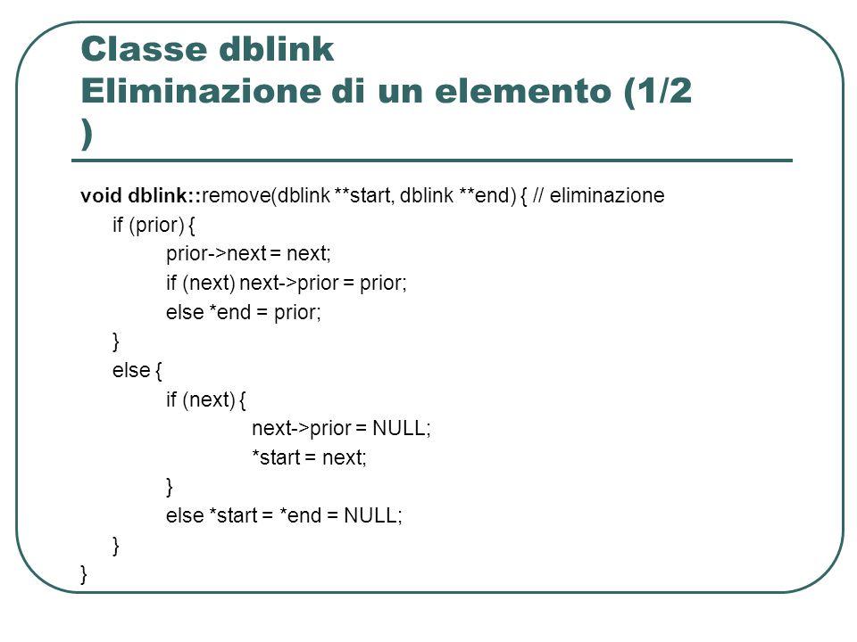 Classe dblink Eliminazione di un elemento (1/2 ) void dblink::remove(dblink **start, dblink **end) { // eliminazione if (prior) { prior->next = next; if (next) next->prior = prior; else *end = prior; } else { if (next) { next->prior = NULL; *start = next; } else *start = *end = NULL; }