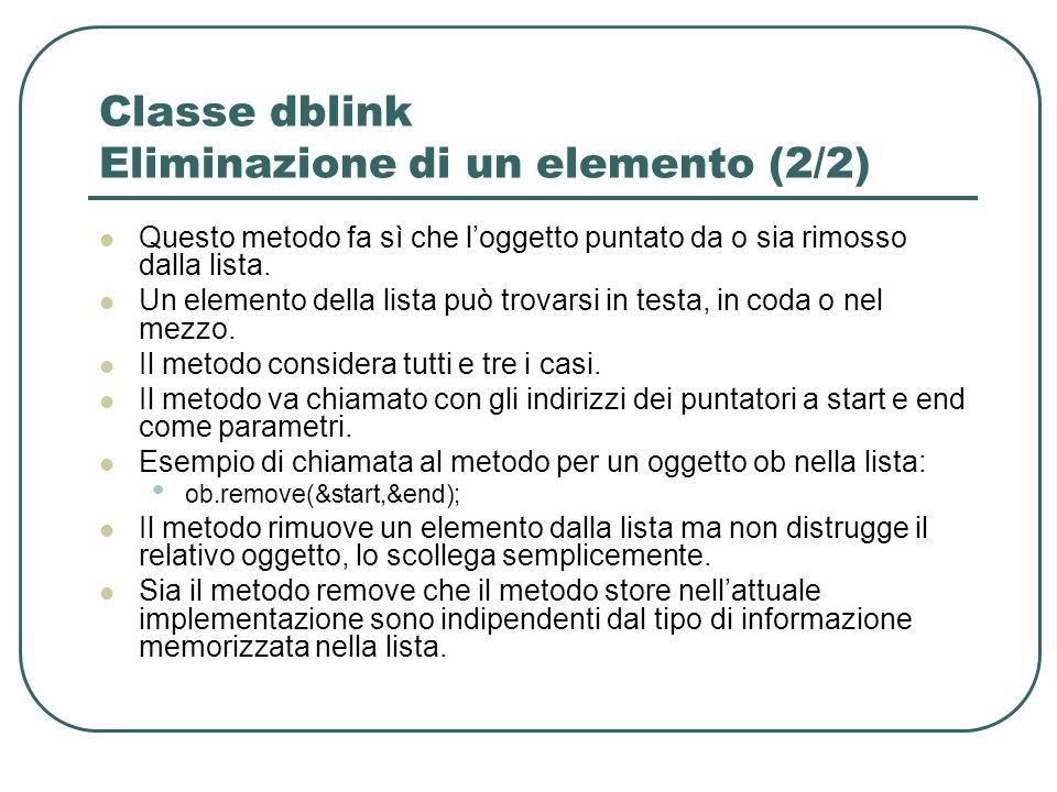 Classe dblink Eliminazione di un elemento (2/2) Questo metodo fa sì che loggetto puntato da o sia rimosso dalla lista.