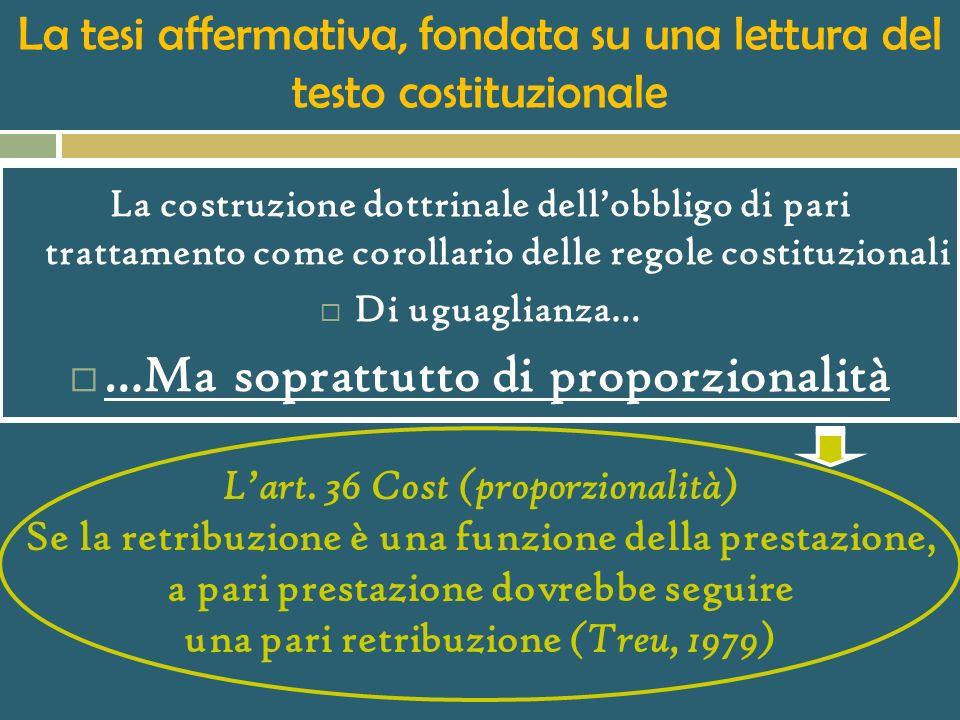 II.b) Alcune ricadute giuridiche della retribuzione come obbligazione corrispettiva IL PROBLEMA DELLA PARITÀ DI TRATTAMENTO RETRIBUTIVO Due lavoratori