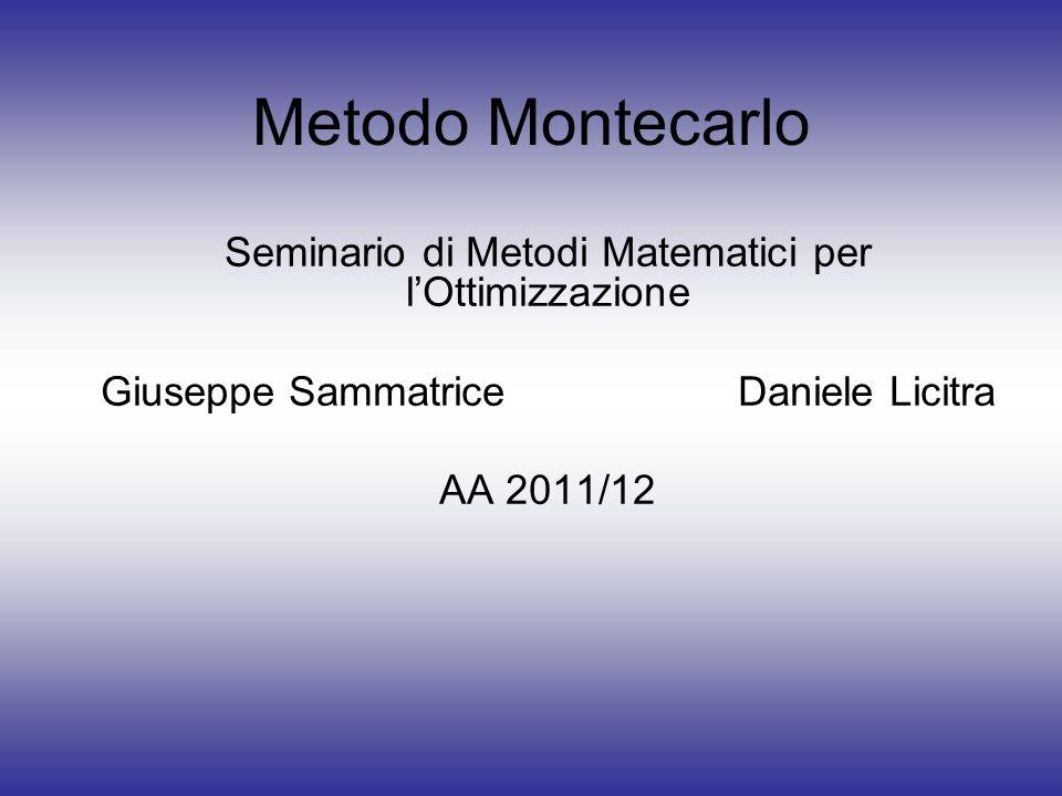 Metodo Montecarlo Seminario di Metodi Matematici per lOttimizzazione Giuseppe SammatriceDaniele Licitra AA 2011/12