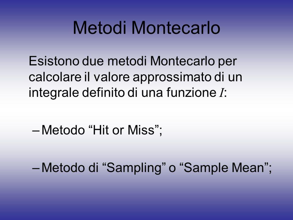 Metodi Montecarlo Esistono due metodi Montecarlo per calcolare il valore approssimato di un integrale definito di una funzione I : –Metodo Hit or Miss