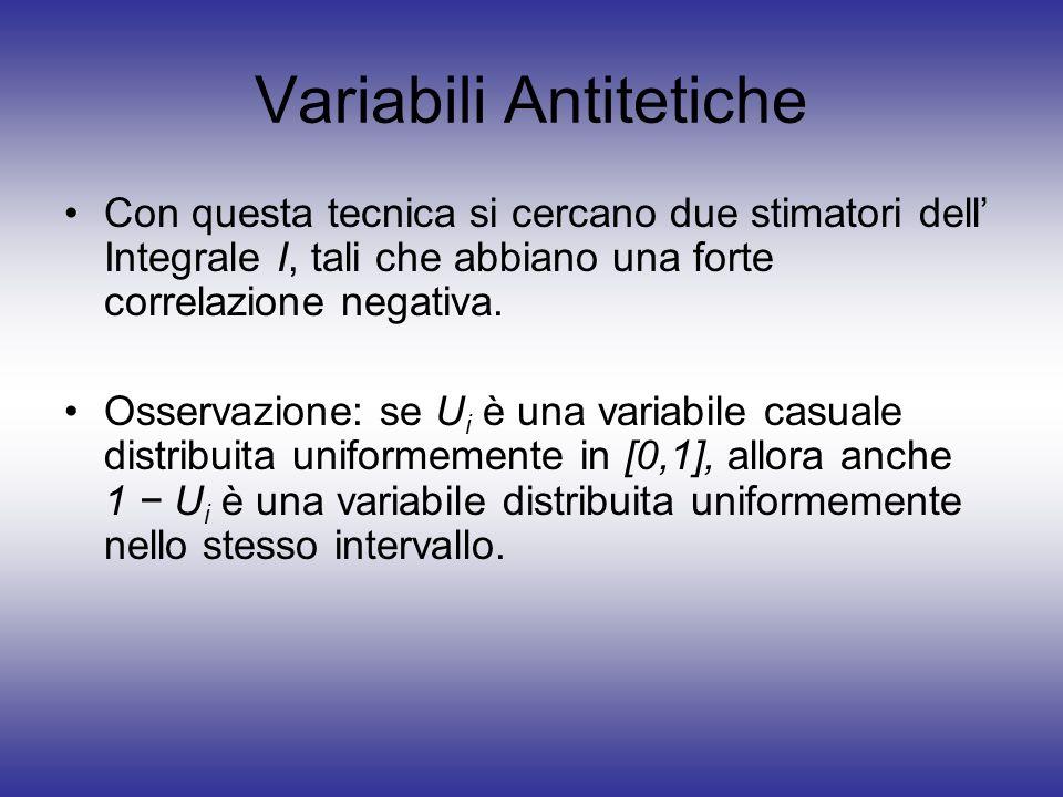 Variabili Antitetiche Con questa tecnica si cercano due stimatori dell Integrale I, tali che abbiano una forte correlazione negativa. Osservazione: se