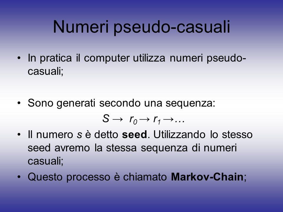 Numeri pseudo-casuali In pratica il computer utilizza numeri pseudo- casuali; Sono generati secondo una sequenza: S r 0 r 1 … Il numero s è detto seed