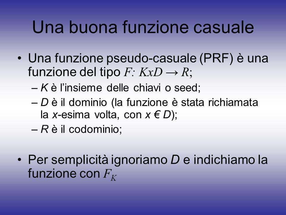 Una buona funzione casuale Una funzione pseudo-casuale (PRF) è una funzione del tipo F: KxD R; –K è linsieme delle chiavi o seed; –D è il dominio (la