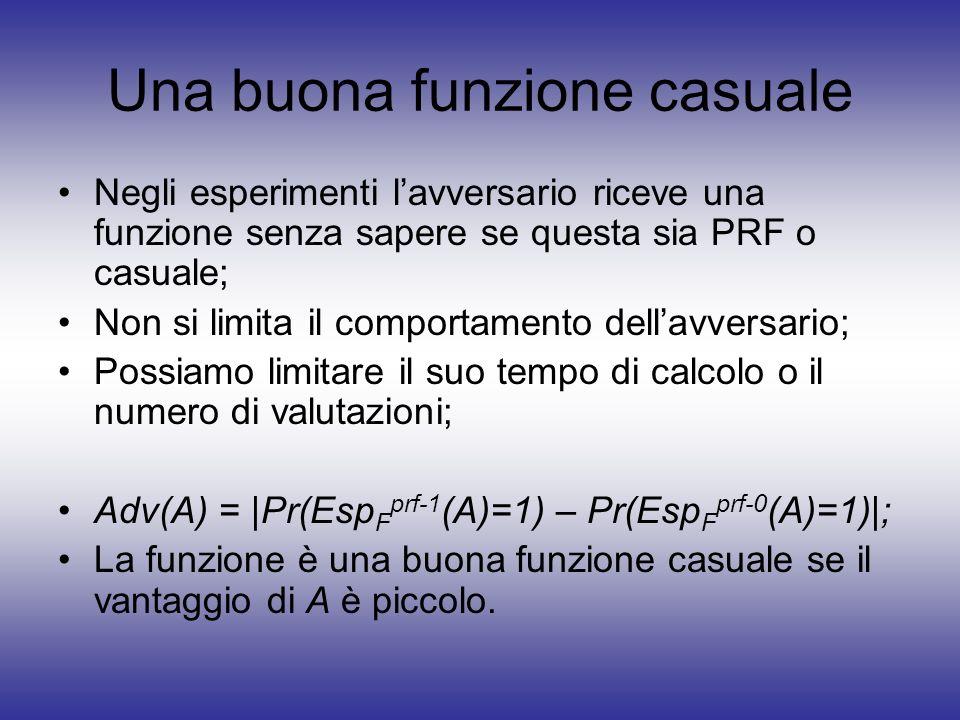 Negli esperimenti lavversario riceve una funzione senza sapere se questa sia PRF o casuale; Non si limita il comportamento dellavversario; Possiamo li