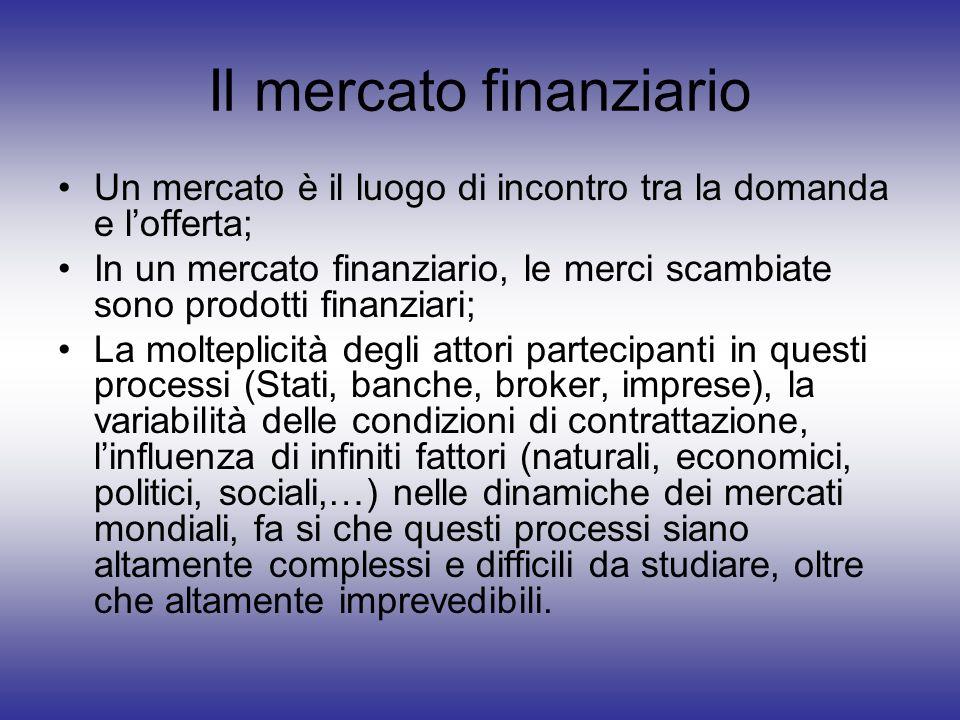 Il mercato finanziario Un mercato è il luogo di incontro tra la domanda e lofferta; In un mercato finanziario, le merci scambiate sono prodotti finanz
