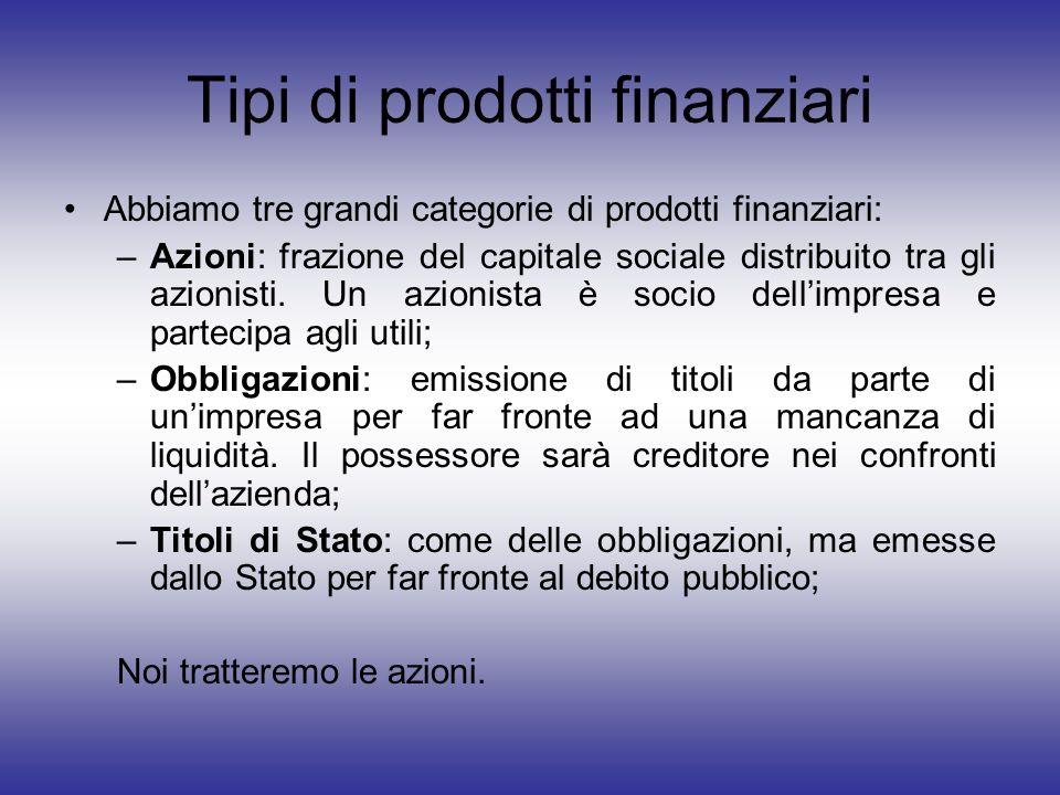 Tipi di prodotti finanziari Abbiamo tre grandi categorie di prodotti finanziari: –Azioni: frazione del capitale sociale distribuito tra gli azionisti.