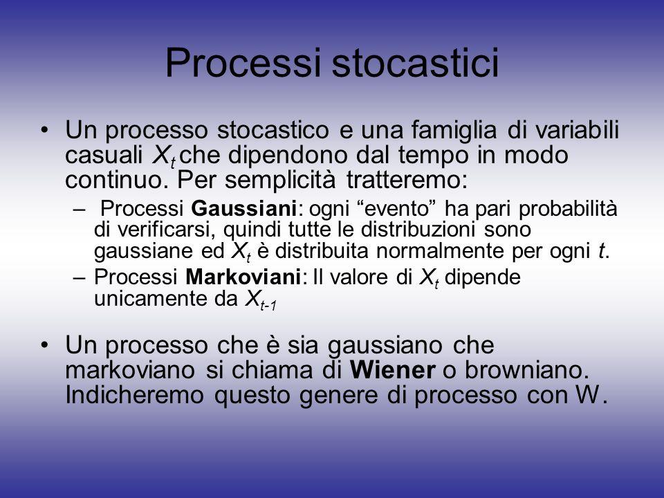 Processi stocastici Un processo stocastico e una famiglia di variabili casuali X t che dipendono dal tempo in modo continuo. Per semplicità tratteremo