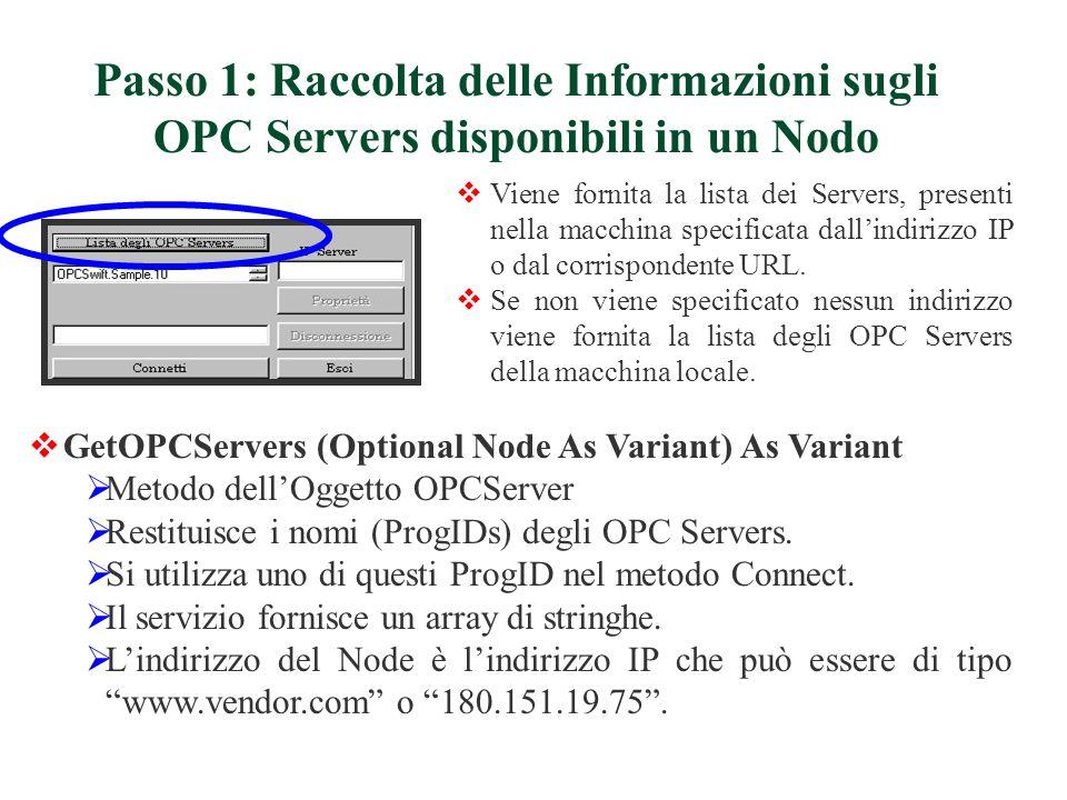Viene fornita la lista dei Servers, presenti nella macchina specificata dallindirizzo IP o dal corrispondente URL. Se non viene specificato nessun ind