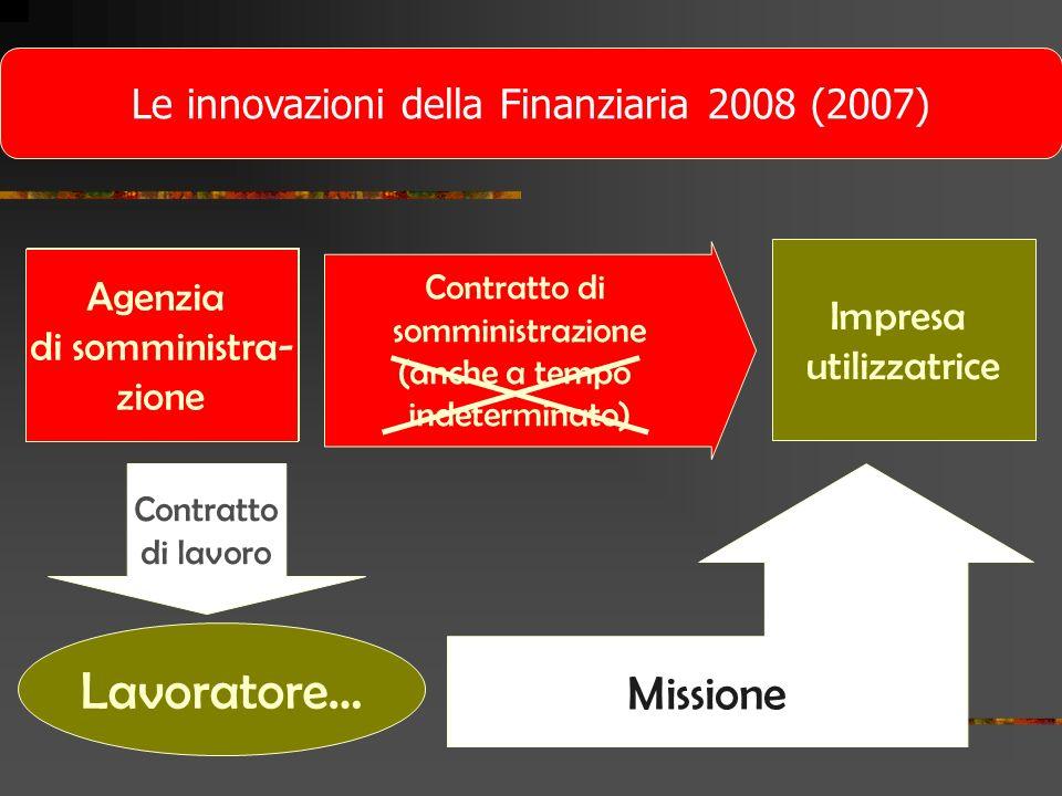 Agenzia di lavoro temporaneo Impresa utilizzatrice Contratto di lavoro Lavoratore… Missione Le innovazioni della Finanziaria 2008 (2007) Agenzia di so