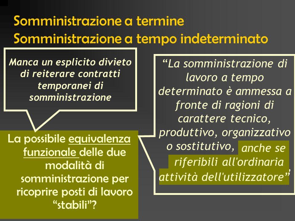 Somministrazione a termine Somministrazione a tempo indeterminato La possibile equivalenza funzionale delle due modalità di somministrazione per ricop