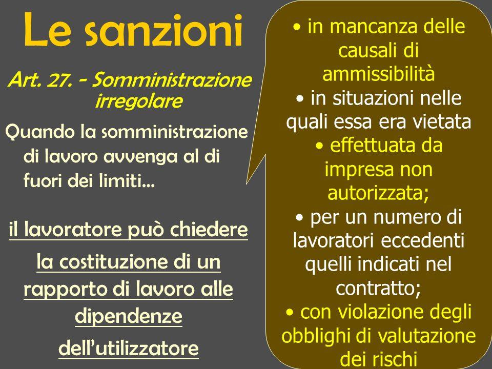 Le sanzioni Art. 27. - Somministrazione irregolare Quando la somministrazione di lavoro avvenga al di fuori dei limiti… il lavoratore può chiedere la