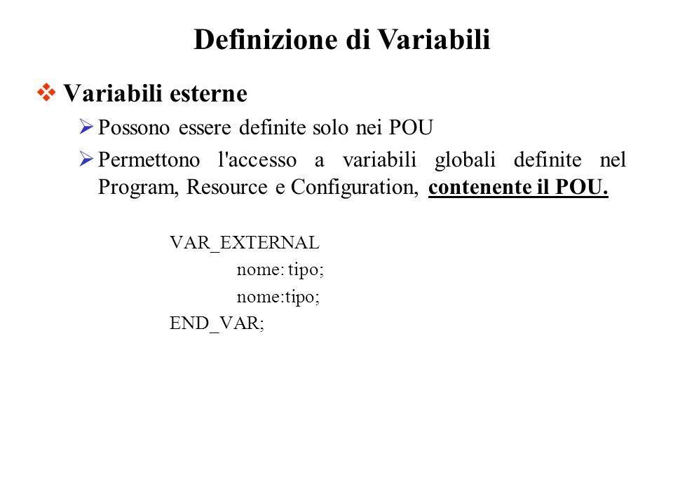 Variabili esterne Possono essere definite solo nei POU Permettono l accesso a variabili globali definite nel Program, Resource e Configuration, contenente il POU.