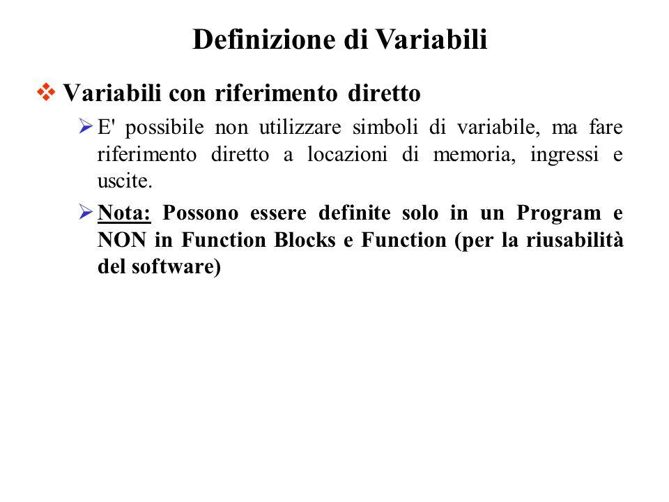 Variabili con riferimento diretto E possibile non utilizzare simboli di variabile, ma fare riferimento diretto a locazioni di memoria, ingressi e uscite.