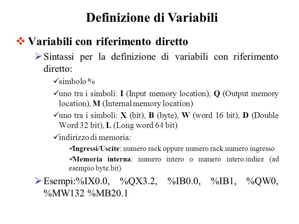Variabili con riferimento diretto Sintassi per la definizione di variabili con riferimento diretto: simbolo % uno tra i simboli: I (Input memory location), Q (Output memory location), M (Internal memory location) uno tra i simboli: X (bit), B (byte), W (word 16 bit), D (Double Word 32 bit), L (Long word 64 bit) indirizzo di memoria: Ingressi/Uscite: numero rack oppure numero rack.numero ingresso Memoria interna: numero intero o numero intero.indice (ad esempio byte.bit) Esempi:%IX0.0, %QX3.2, %IB0.0, %IB1, %QW0, %MW132 %MB20.1 Definizione di Variabili