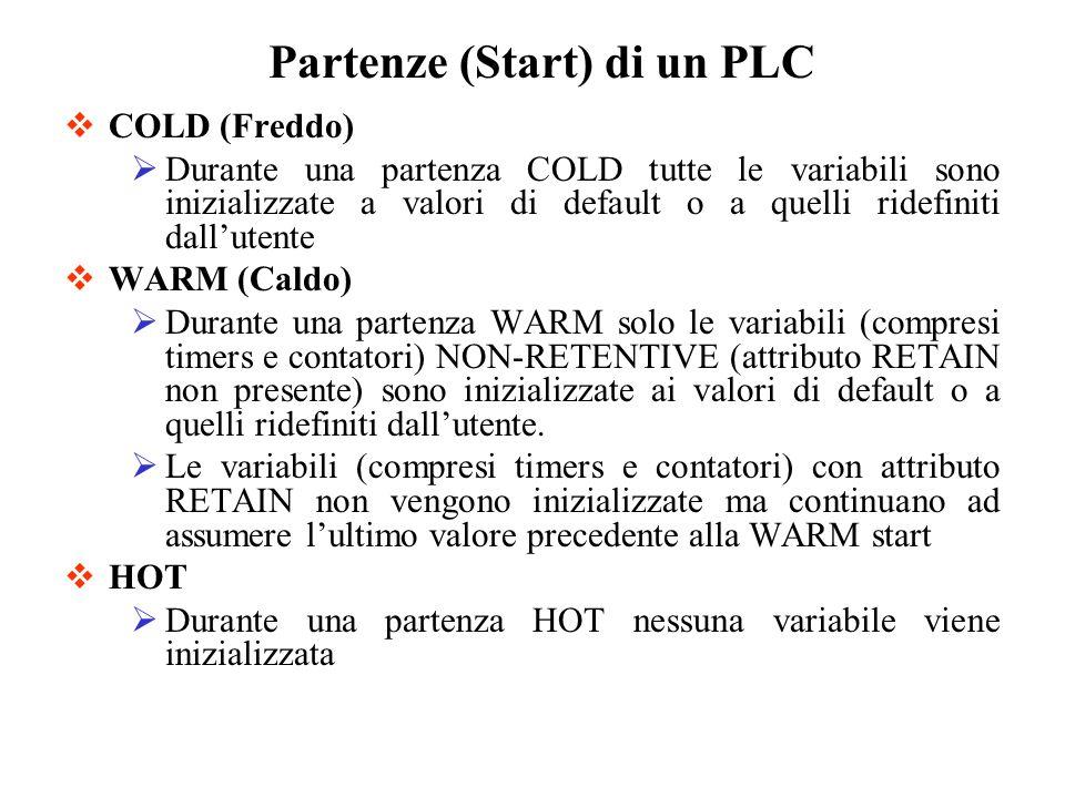 COLD (Freddo) Durante una partenza COLD tutte le variabili sono inizializzate a valori di default o a quelli ridefiniti dallutente WARM (Caldo) Durante una partenza WARM solo le variabili (compresi timers e contatori) NON-RETENTIVE (attributo RETAIN non presente) sono inizializzate ai valori di default o a quelli ridefiniti dallutente.