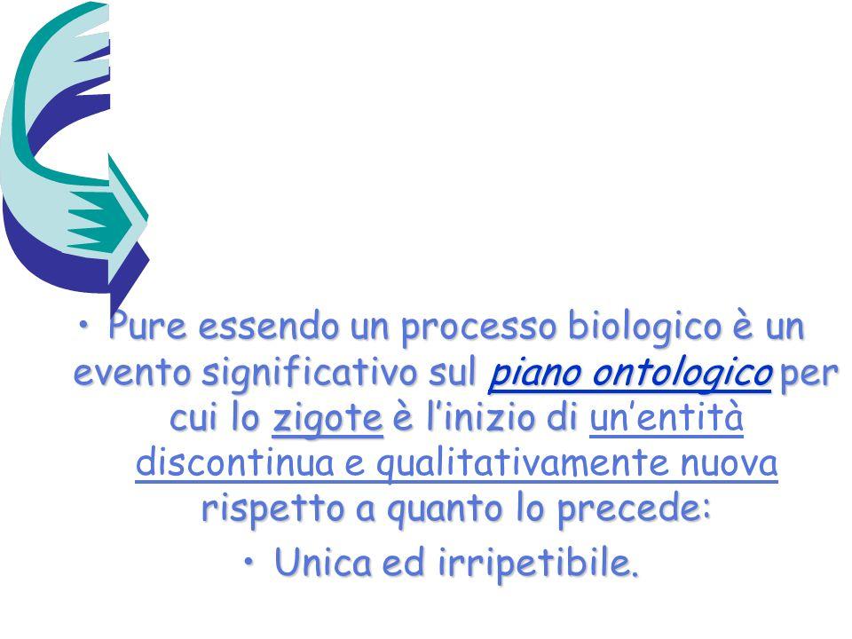 Pure essendo un processo biologico è un evento significativo sul piano ontologico per cui lo zigote è linizio di rispetto a quanto lo precede:Pure ess