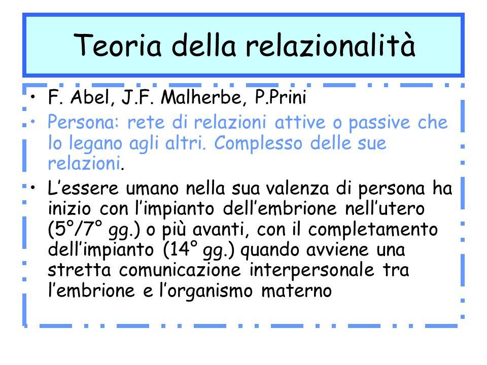 Teoria della relazionalità F. Abel, J.F. Malherbe, P.Prini Persona: rete di relazioni attive o passive che lo legano agli altri. Complesso delle sue r