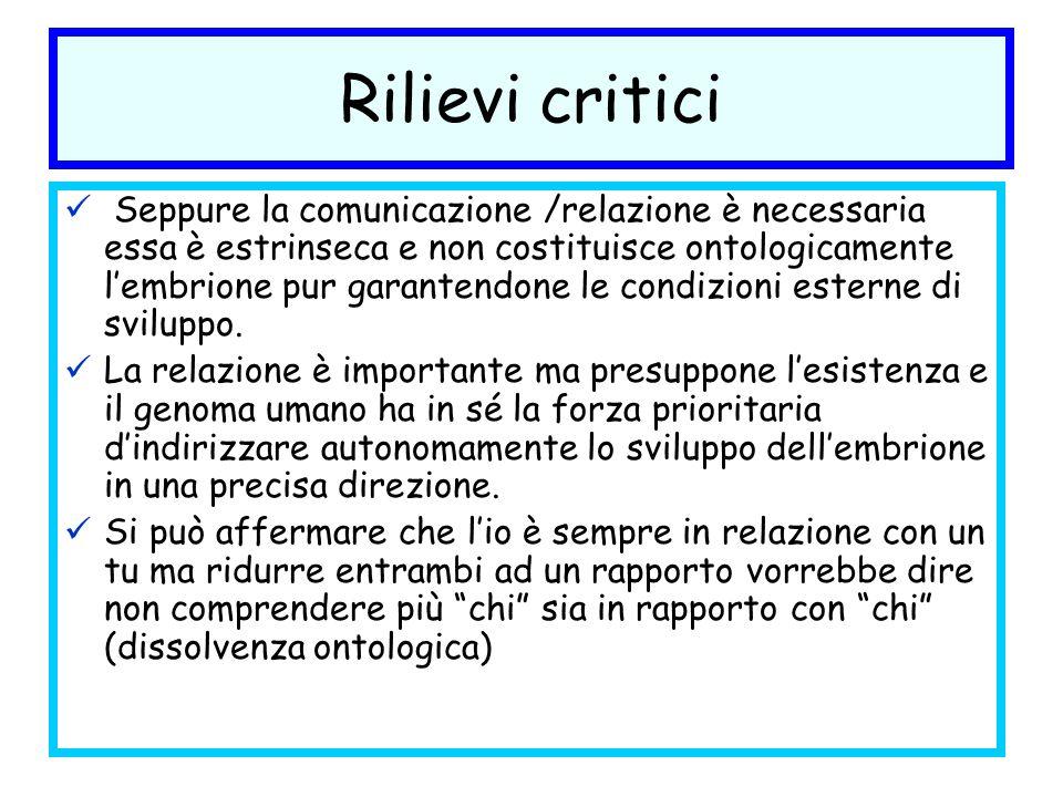 Rilievi critici Seppure la comunicazione /relazione è necessaria essa è estrinseca e non costituisce ontologicamente lembrione pur garantendone le con