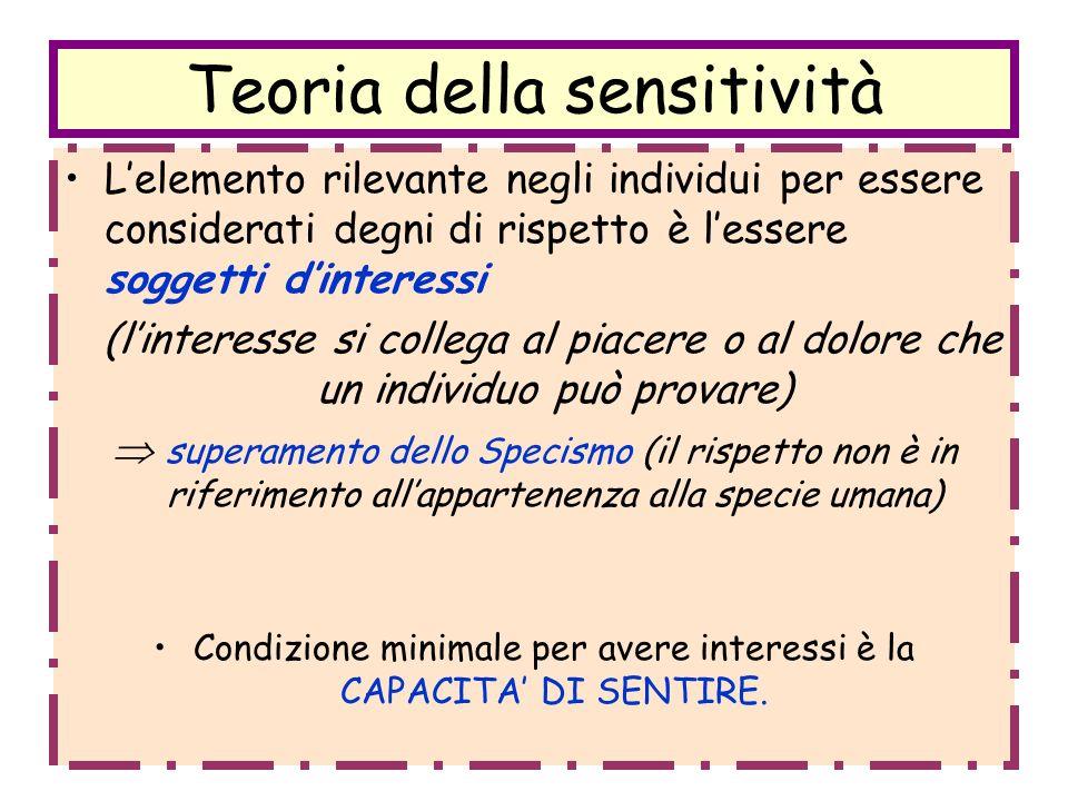 Teoria della sensitività Lelemento rilevante negli individui per essere considerati degni di rispetto è lessere soggetti dinteressi (linteresse si col