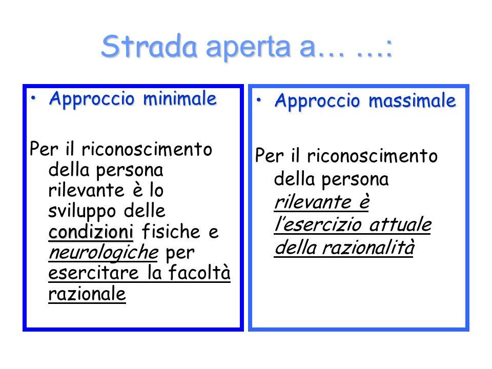 Strada aperta a… …: Approccio minimaleApproccio minimale condizioni Per il riconoscimento della persona rilevante è lo sviluppo delle condizioni fisic