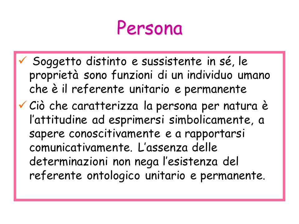 Persona Soggetto distinto e sussistente in sé, le proprietà sono funzioni di un individuo umano che è il referente unitario e permanente Ciò che carat