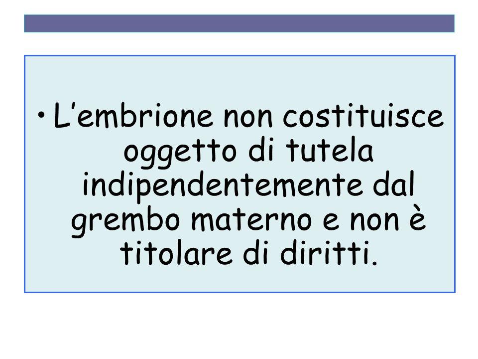 Lembrione non costituisce oggetto di tutela indipendentemente dal grembo materno e non è titolare di diritti.