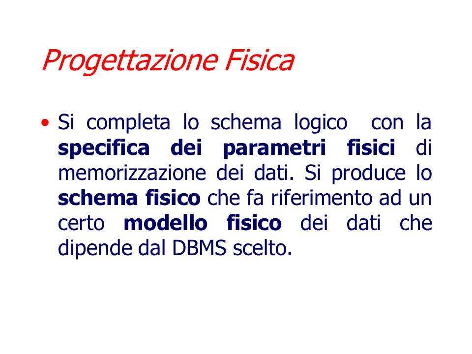 Progettazione Logica Consiste nella traduzione dello schema concettuale in termini di un determinato modello logico (ad esempio il modello relazionale