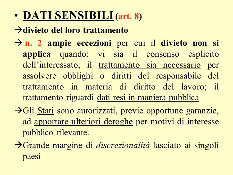 DATI SENSIBILIDATI SENSIBILI (art. 8) divieto del loro trattamento n. 2 ampie eccezioni per cui il divieto non si applica quando: vi sia il consenso e