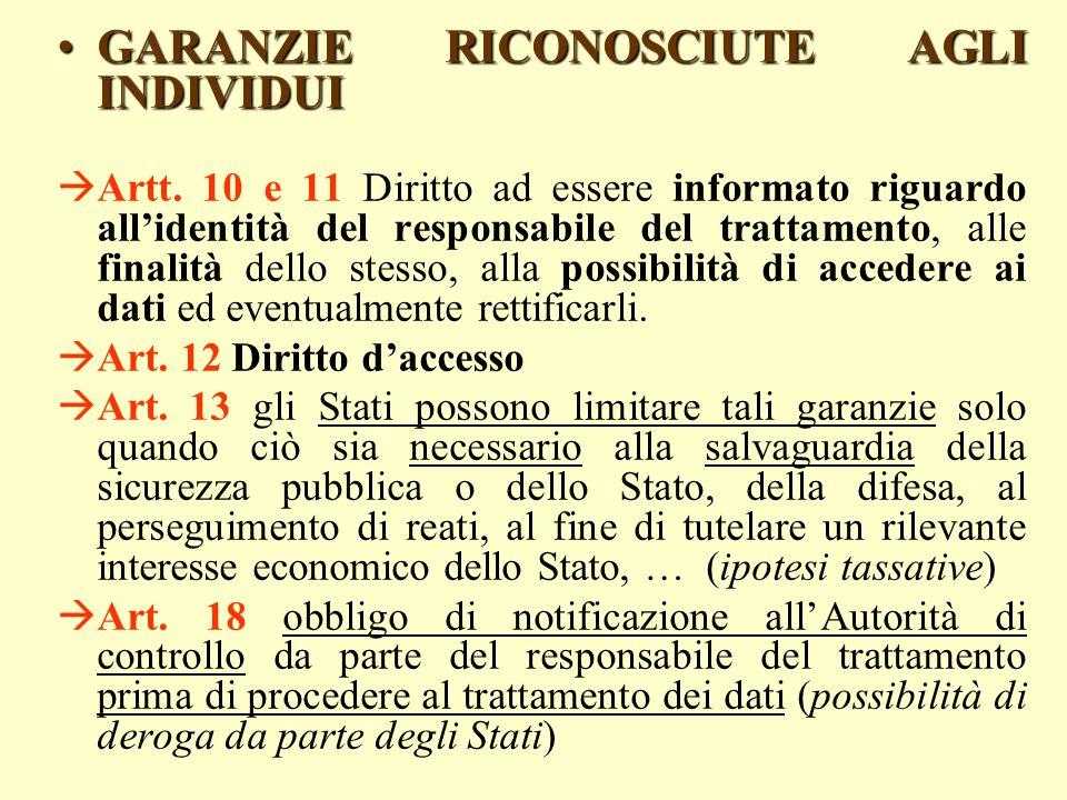 GARANZIE RICONOSCIUTE AGLI INDIVIDUIGARANZIE RICONOSCIUTE AGLI INDIVIDUI Artt. 10 e 11 Diritto ad essere informato riguardo allidentità del responsabi
