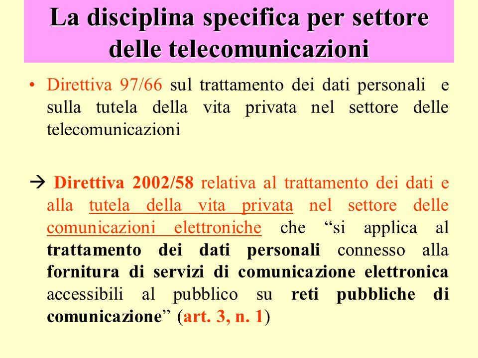 La disciplina specifica per settore delle telecomunicazioni Direttiva 97/66 sul trattamento dei dati personali e sulla tutela della vita privata nel s