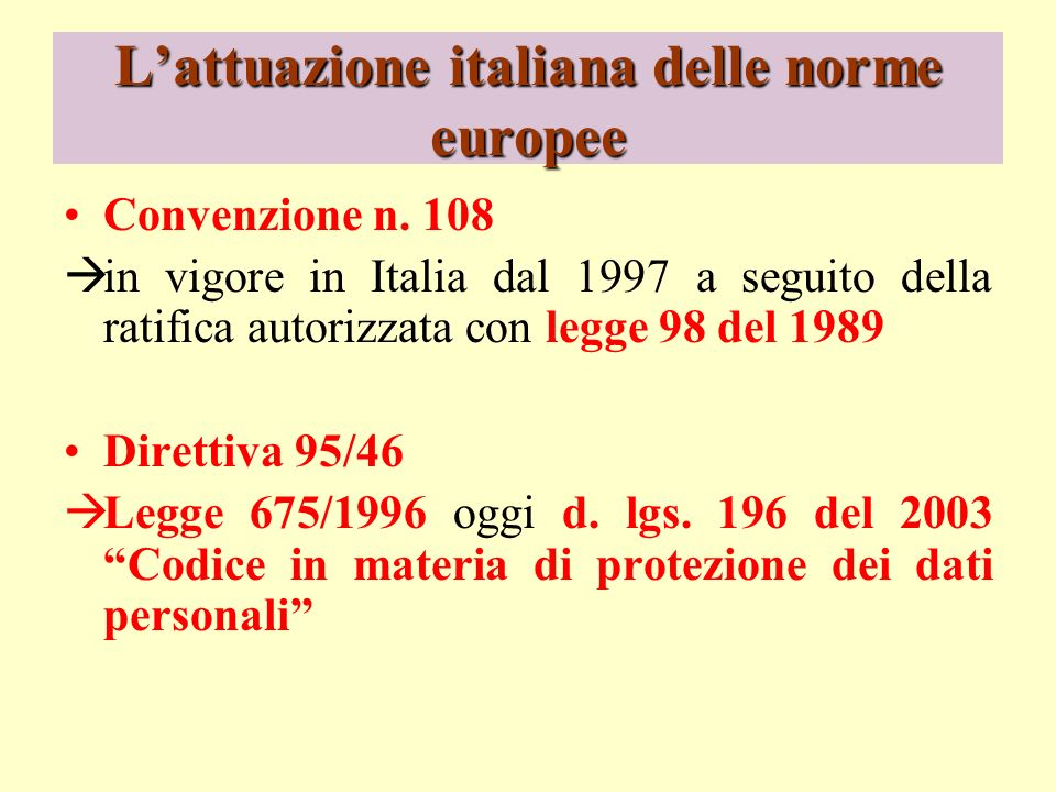 Lattuazione italiana delle norme europee Convenzione n. 108 in vigore in Italia dal 1997 a seguito della ratifica autorizzata con legge 98 del 1989 Di