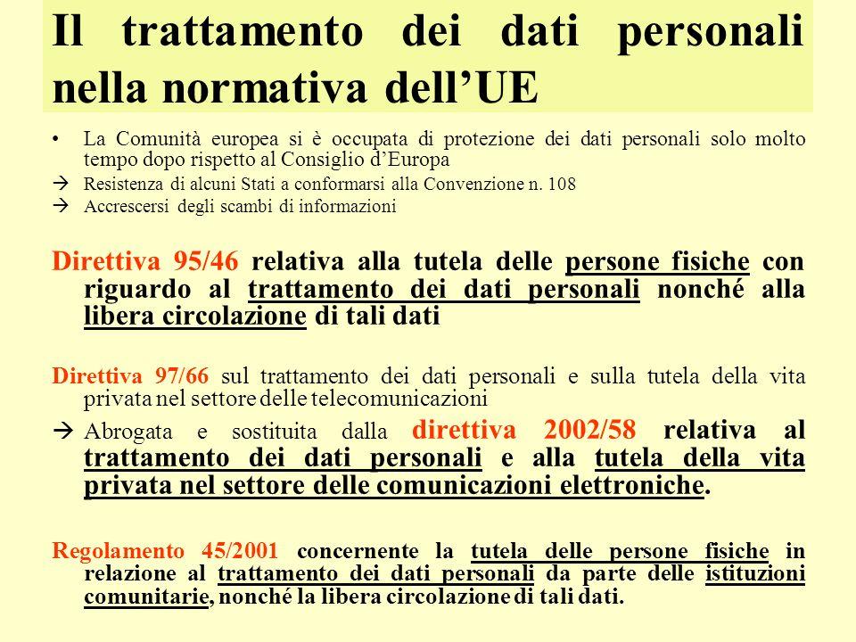 Il trattamento dei dati personali nella normativa dellUE La Comunità europea si è occupata di protezione dei dati personali solo molto tempo dopo risp