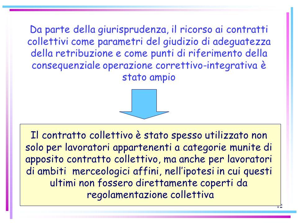 12 Da parte della giurisprudenza, il ricorso ai contratti collettivi come parametri del giudizio di adeguatezza della retribuzione e come punti di rif