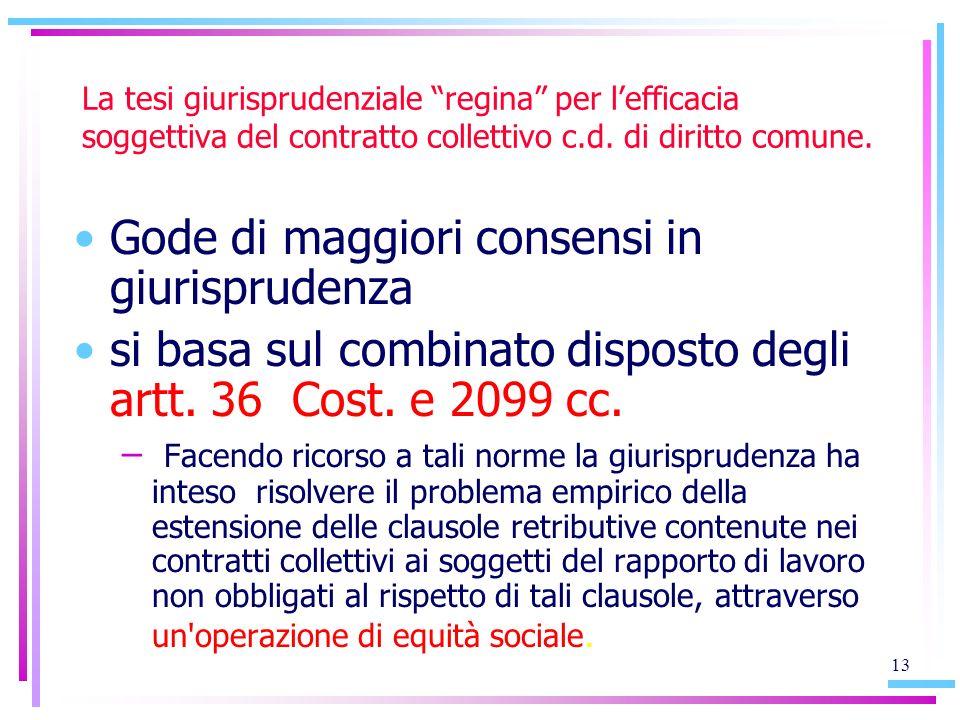 13 La tesi giurisprudenziale regina per lefficacia soggettiva del contratto collettivo c.d. di diritto comune. Gode di maggiori consensi in giurisprud