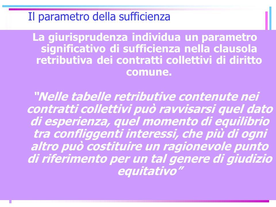 15 Il parametro della sufficienza La giurisprudenza individua un parametro significativo di sufficienza nella clausola retributiva dei contratti colle