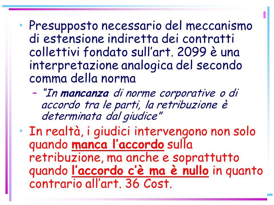 16 Presupposto necessario del meccanismo di estensione indiretta dei contratti collettivi fondato sullart. 2099 è una interpretazione analogica del se