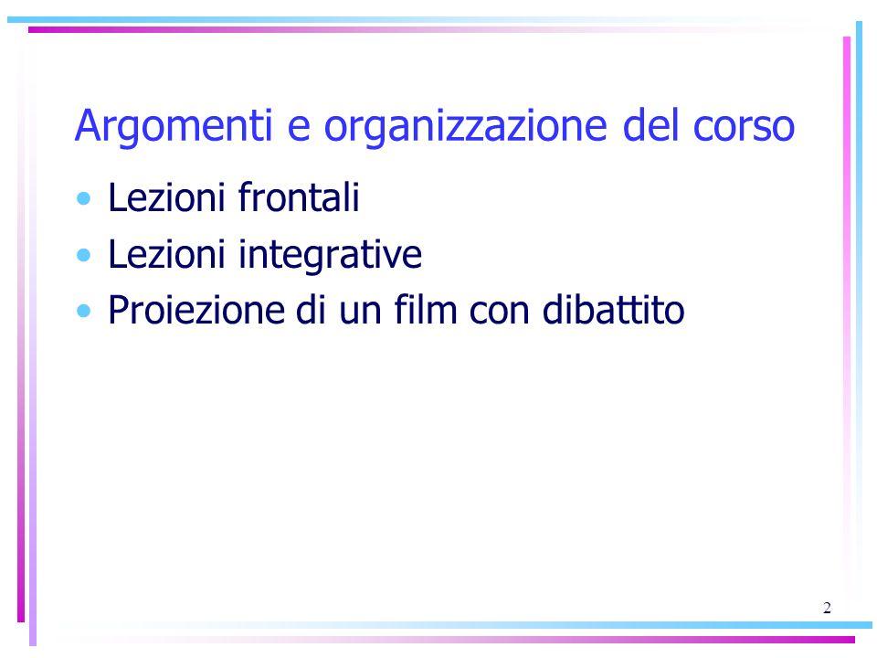 Argomenti e organizzazione del corso Lezioni frontali Lezioni integrative Proiezione di un film con dibattito 2