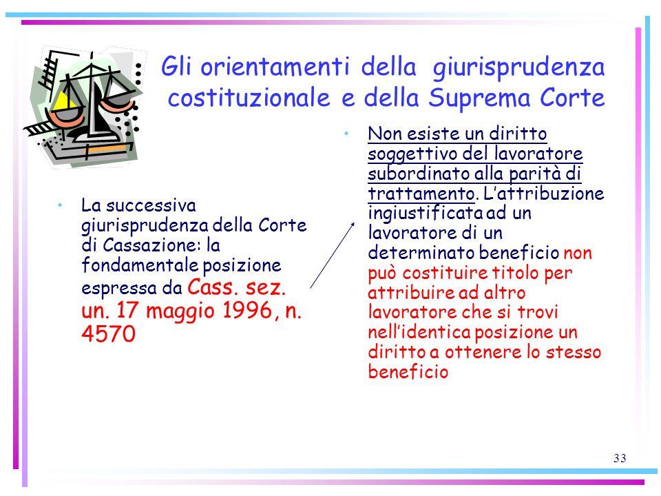 33 Gli orientamenti della giurisprudenza costituzionale e della Suprema Corte La successiva giurisprudenza della Corte di Cassazione: la fondamentale