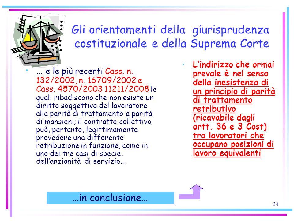 34 Gli orientamenti della giurisprudenza costituzionale e della Suprema Corte … e le più recenti Cass. n. 132/2002, n. 16709/2002 e Cass. 4570/2003 11