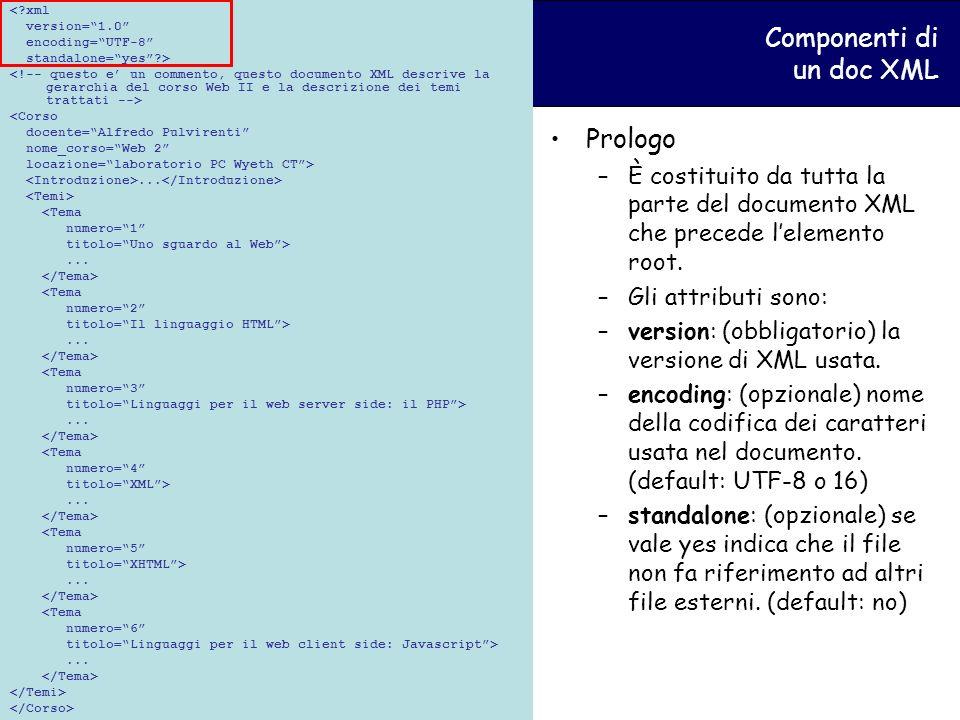 Componenti di un doc XML <?xml version=1.0 encoding=UTF-8 standalone=yes?> <Corso docente=Alfredo Pulvirenti nome_corso=Web 2 locazione=laboratorio PC Wyeth CT>...